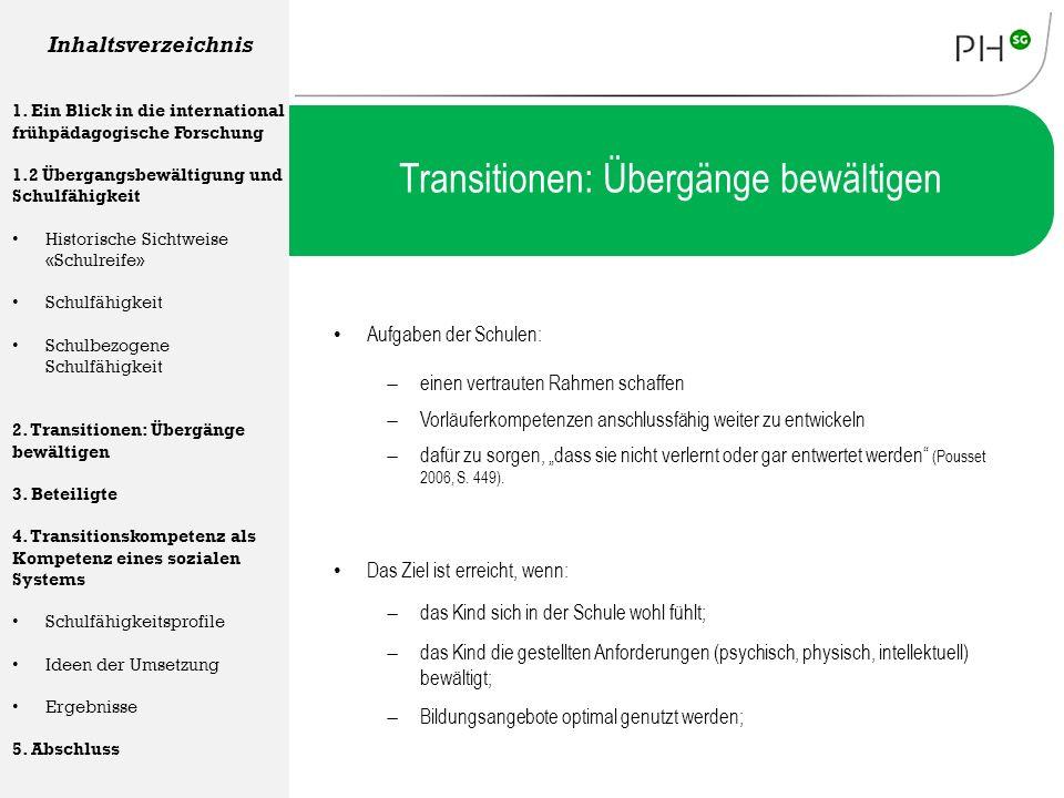 Transitionen: Übergänge bewältigen Aufgaben der Schulen: Inhaltsverzeichnis 1. Ein Blick in die international frühpädagogische Forschung 1.2 Übergangs