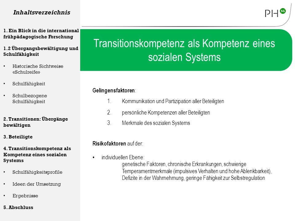 Transitionskompetenz als Kompetenz eines sozialen Systems Gelingensfaktoren : Inhaltsverzeichnis 1. Ein Blick in die international frühpädagogische Fo