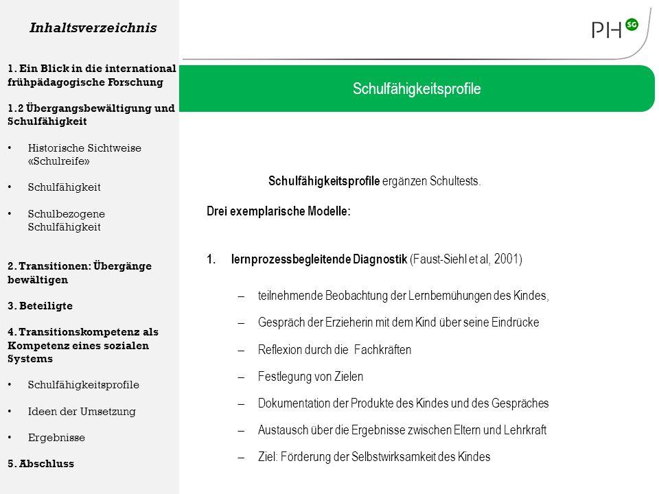 Schulfähigkeitsprofile ergänzen Schultests. Drei exemplarische Modelle: Schulfähigkeitsprofile Inhaltsverzeichnis 1. Ein Blick in die international fr