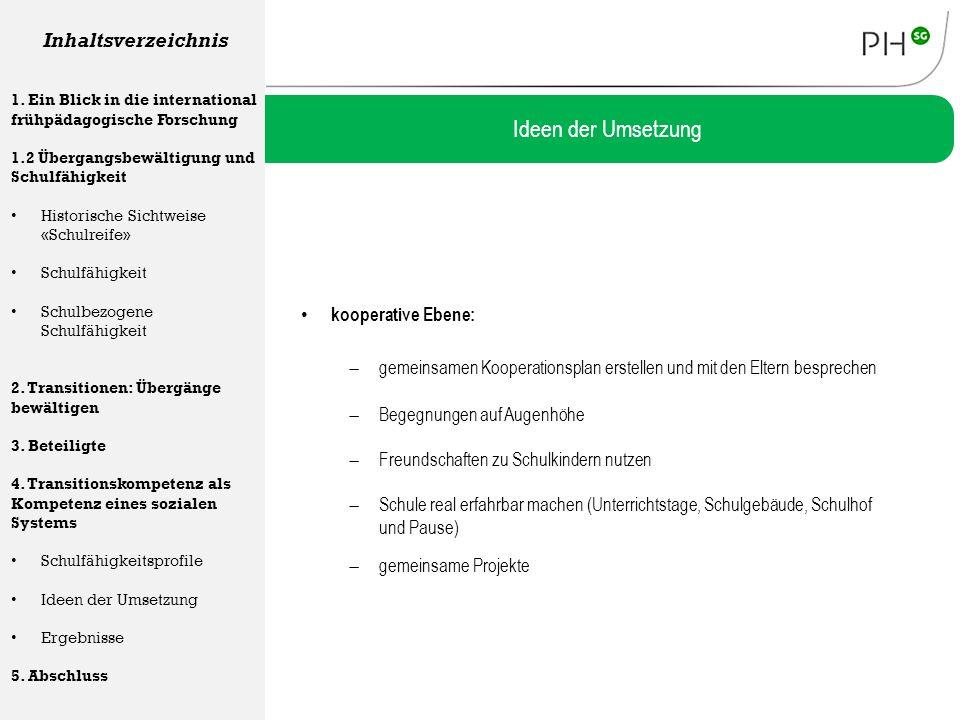 kooperative Ebene: Ideen der Umsetzung Inhaltsverzeichnis 1. Ein Blick in die international frühpädagogische Forschung 1.2 Übergangsbewältigung und Sc