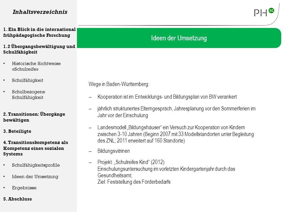 Wege in Baden-Württemberg: Ideen der Umsetzung Inhaltsverzeichnis 1. Ein Blick in die international frühpädagogische Forschung 1.2 Übergangsbewältigun
