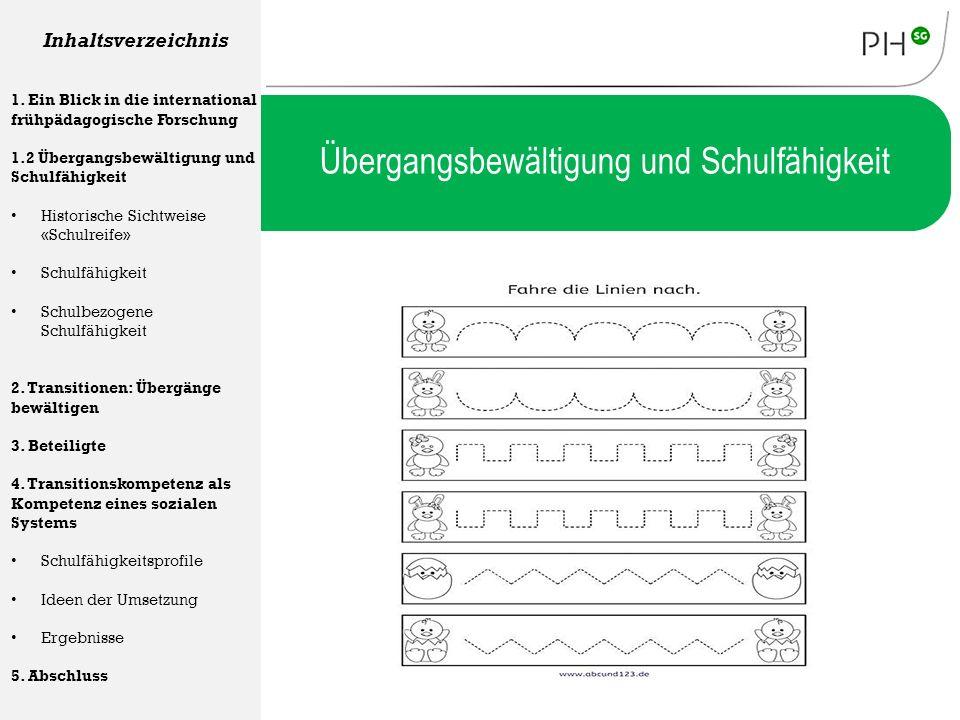 Übergangsbewältigung und Schulfähigkeit Inhaltsverzeichnis 1. Ein Blick in die international frühpädagogische Forschung 1.2 Übergangsbewältigung und S