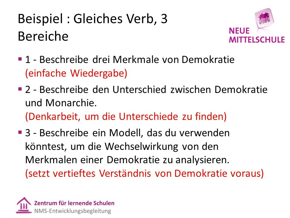 Beispiel : Gleiches Verb, 3 Bereiche  1 - Beschreibe drei Merkmale von Demokratie (einfache Wiedergabe)  2 - Beschreibe den Unterschied zwischen Demokratie und Monarchie.