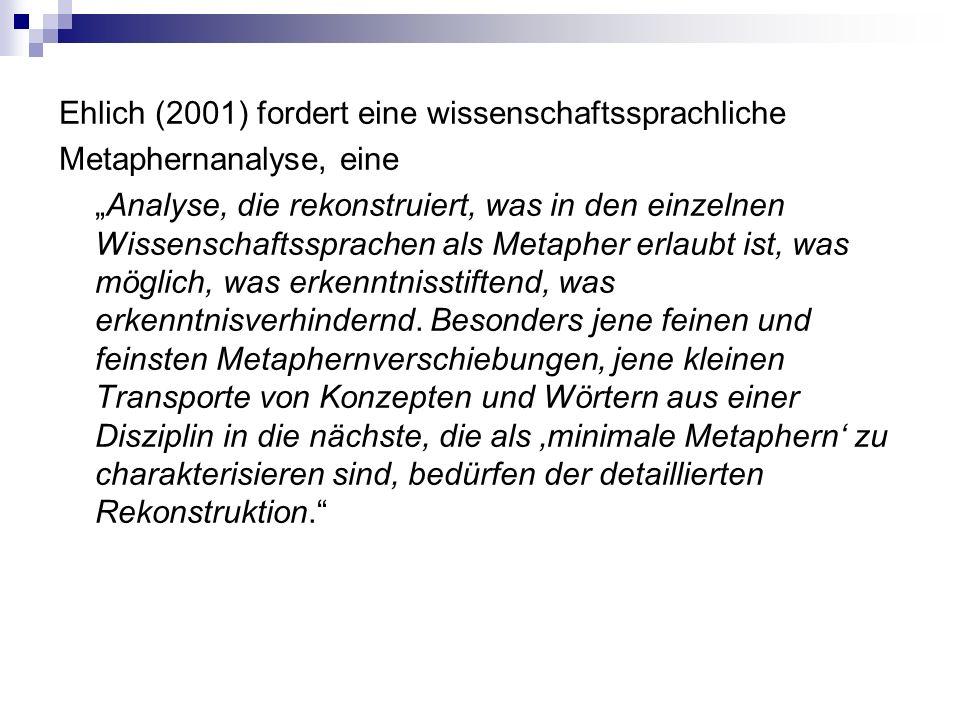 """Ehlich (2001) fordert eine wissenschaftssprachliche Metaphernanalyse, eine """"Analyse, die rekonstruiert, was in den einzelnen Wissenschaftssprachen als Metapher erlaubt ist, was möglich, was erkenntnisstiftend, was erkenntnisverhindernd."""