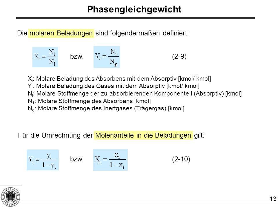 13 Die molaren Beladungen sind folgendermaßen definiert: Phasengleichgewicht X i : Molare Beladung des Absorbens mit dem Absorptiv [kmol/ kmol] Y i :
