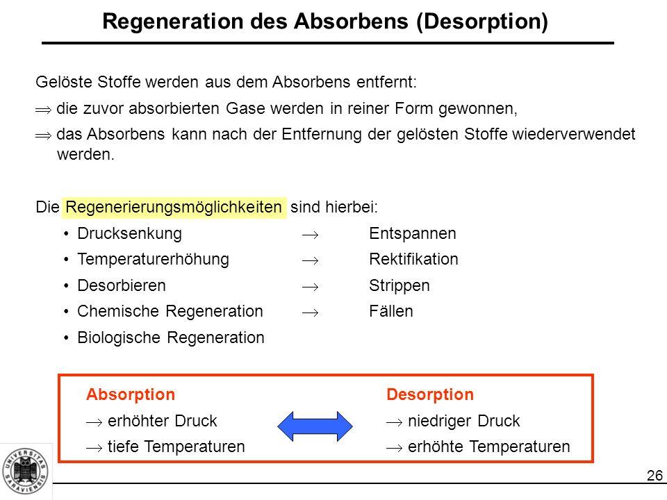 26 Regeneration des Absorbens (Desorption) Gelöste Stoffe werden aus dem Absorbens entfernt:  die zuvor absorbierten Gase werden in reiner Form gewon