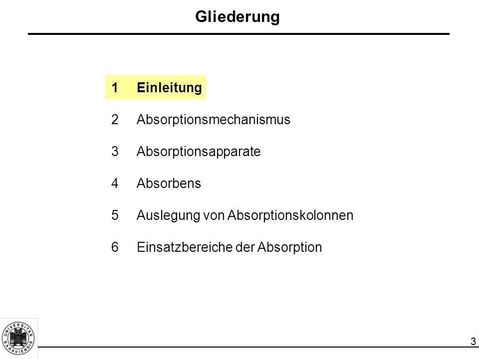 4 Definition Absorption ist die Aufnahme und die Auflösung von Gasen und Dämpfen in einer Flüssigkeit (Solventabsorption) oder einem Feststoff (Feststoffabsorption).