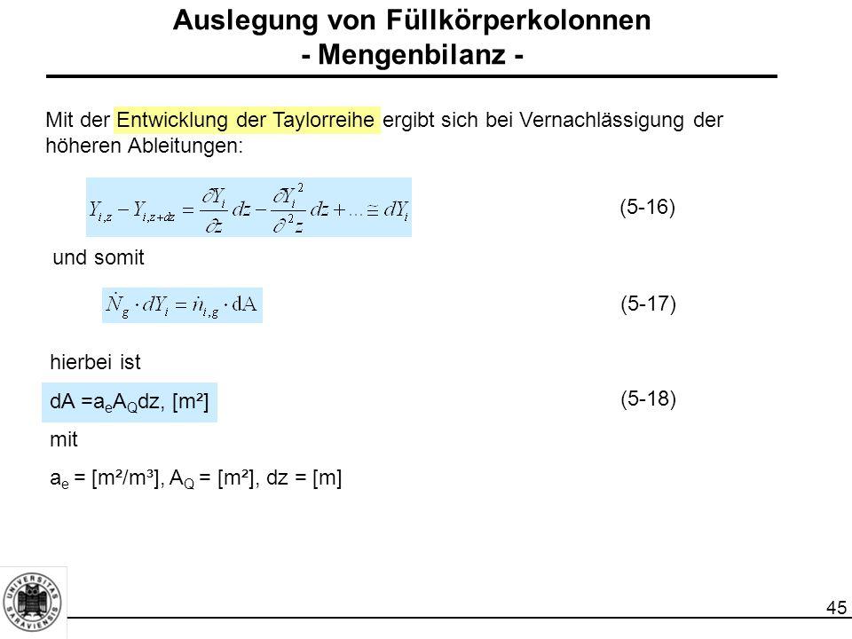 45 Mit der Entwicklung der Taylorreihe ergibt sich bei Vernachlässigung der höheren Ableitungen: und somit (5-16) (5-17) hierbei ist dA =a e A Q dz, [