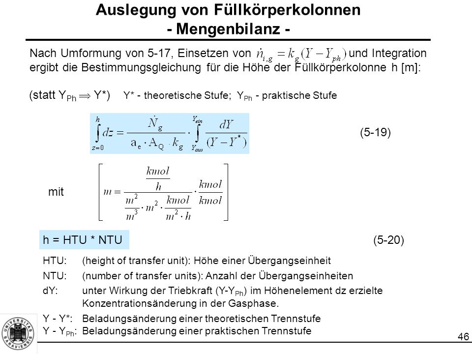 46 Nach Umformung von 5-17, Einsetzen von und Integration ergibt die Bestimmungsgleichung für die Höhe der Füllkörperkolonne h [m]: mit h= HTU * NTU(5