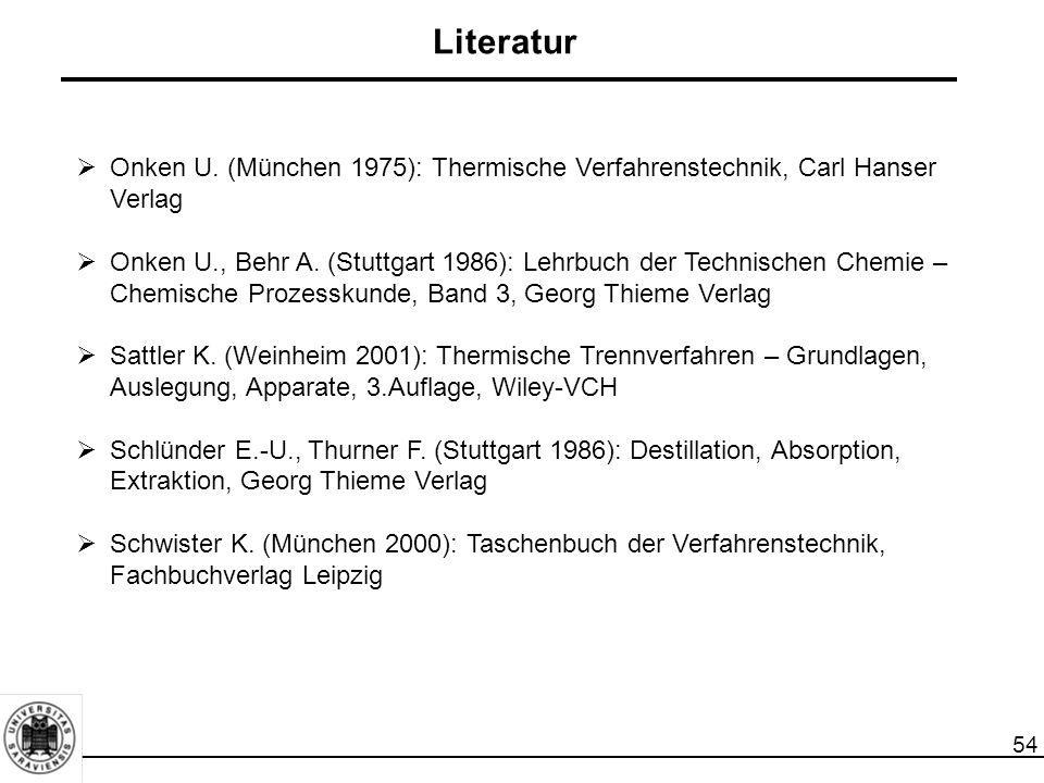 54 Literatur  Onken U. (München 1975): Thermische Verfahrenstechnik, Carl Hanser Verlag  Onken U., Behr A. (Stuttgart 1986): Lehrbuch der Technische