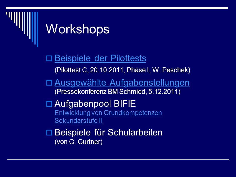 Workshops  Beispiele der Pilottests (Pilottest C, 20.10.2011, Phase I, W. Peschek) Beispiele der Pilottests  Ausgewählte Aufgabenstellungen (Pressek