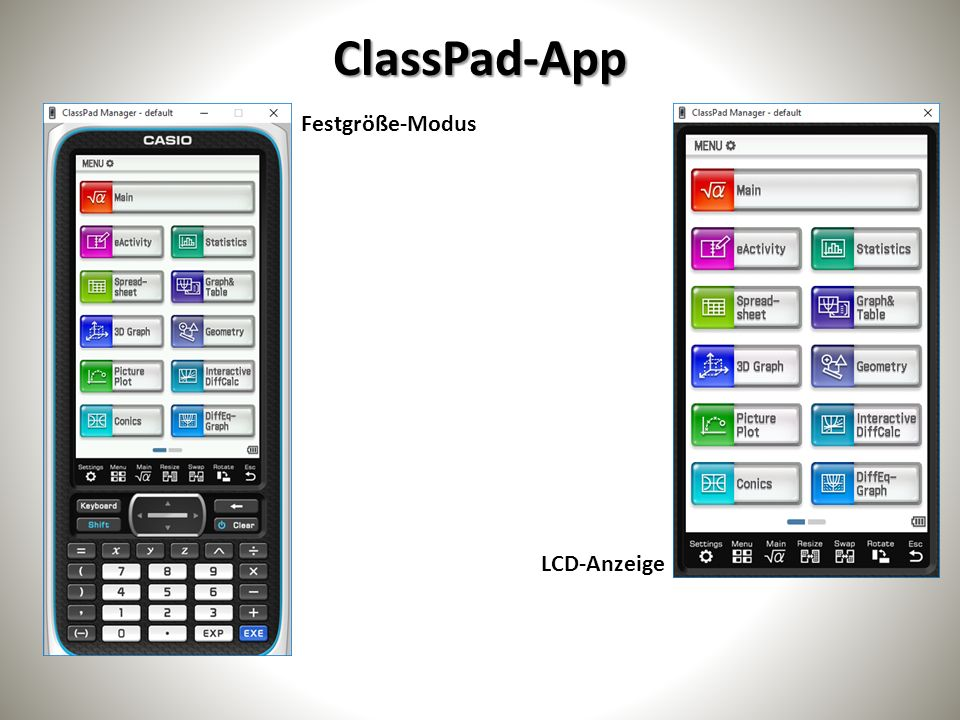 ClassPad-App Anpassmodus