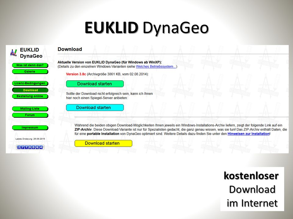 EUKLID DynaGeo kostenloserDownload im Internet
