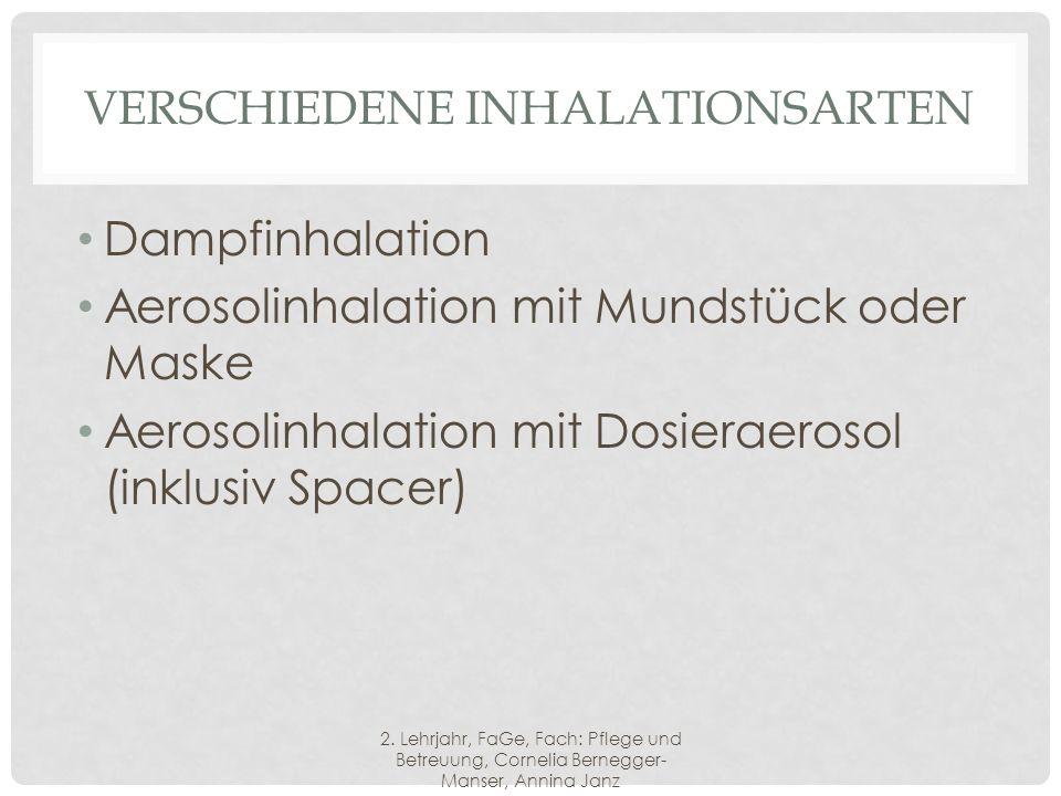 VERSCHIEDENE INHALATIONSARTEN Dampfinhalation Aerosolinhalation mit Mundstück oder Maske Aerosolinhalation mit Dosieraerosol (inklusiv Spacer) 2.
