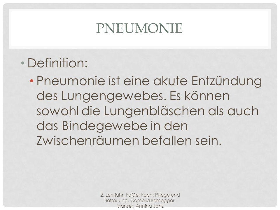 PNEUMONIE Definition: Pneumonie ist eine akute Entzündung des Lungengewebes.