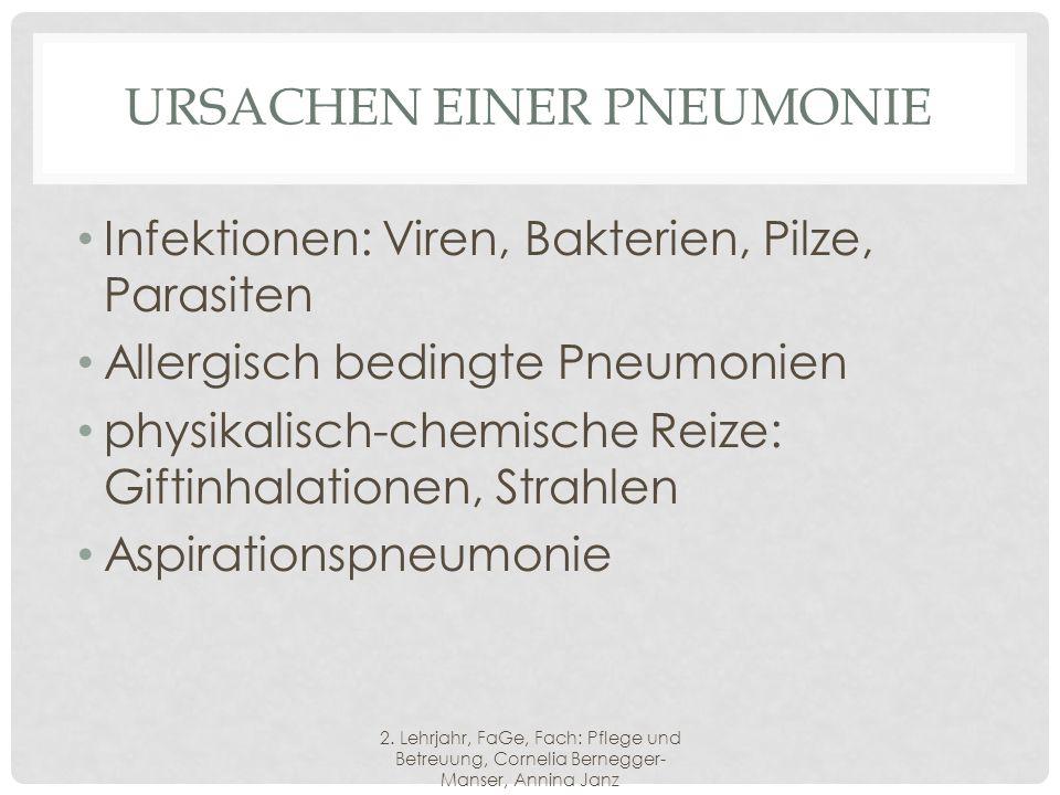 URSACHEN EINER PNEUMONIE Infektionen: Viren, Bakterien, Pilze, Parasiten Allergisch bedingte Pneumonien physikalisch-chemische Reize: Giftinhalationen, Strahlen Aspirationspneumonie 2.