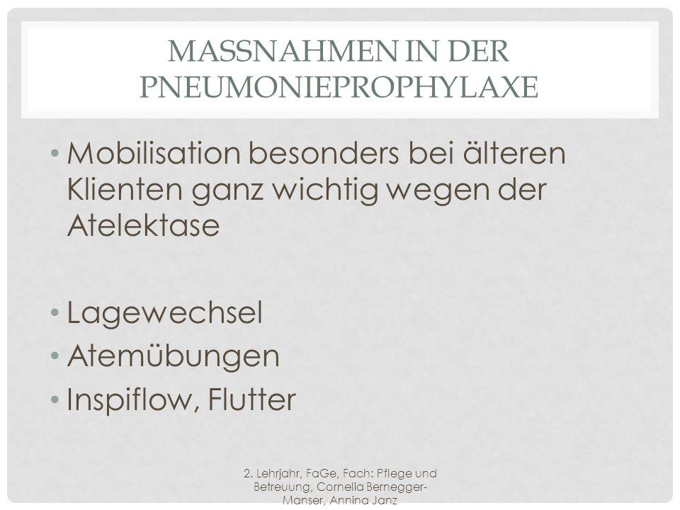 MASSNAHMEN IN DER PNEUMONIEPROPHYLAXE Mobilisation besonders bei älteren Klienten ganz wichtig wegen der Atelektase Lagewechsel Atemübungen Inspiflow, Flutter 2.