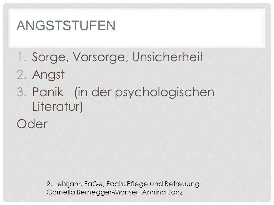 ANGSTSTUFEN 1.Sorge, Vorsorge, Unsicherheit 2.Angst 3.Panik (in der psychologischen Literatur) Oder 2.