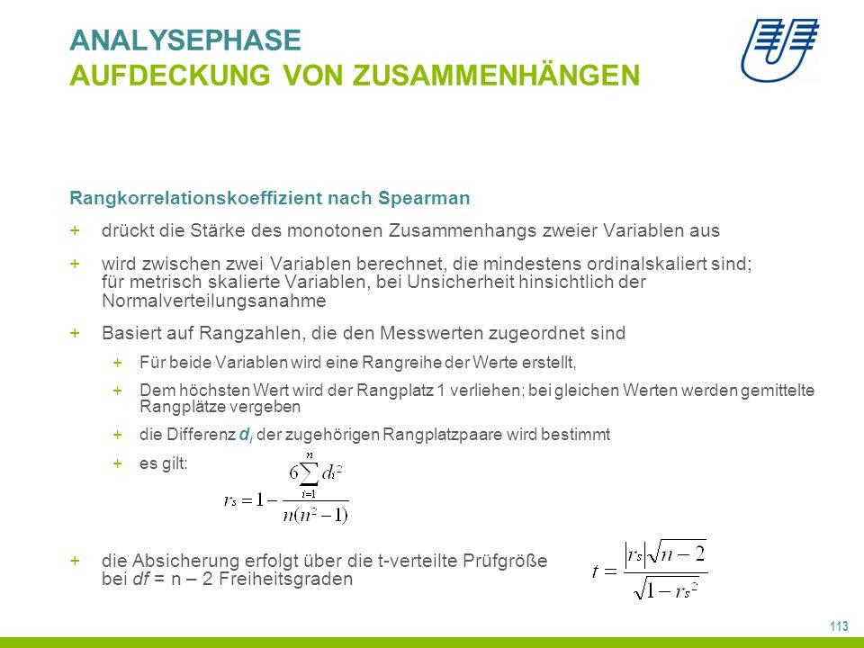 113 ANALYSEPHASE AUFDECKUNG VON ZUSAMMENHÄNGEN Rangkorrelationskoeffizient nach Spearman +drückt die Stärke des monotonen Zusammenhangs zweier Variablen aus +wird zwischen zwei Variablen berechnet, die mindestens ordinalskaliert sind; für metrisch skalierte Variablen, bei Unsicherheit hinsichtlich der Normalverteilungsanahme +Basiert auf Rangzahlen, die den Messwerten zugeordnet sind +Für beide Variablen wird eine Rangreihe der Werte erstellt, +Dem höchsten Wert wird der Rangplatz 1 verliehen; bei gleichen Werten werden gemittelte Rangplätze vergeben +die Differenz d i der zugehörigen Rangplatzpaare wird bestimmt +es gilt: +die Absicherung erfolgt über die t-verteilte Prüfgröße bei df = n – 2 Freiheitsgraden