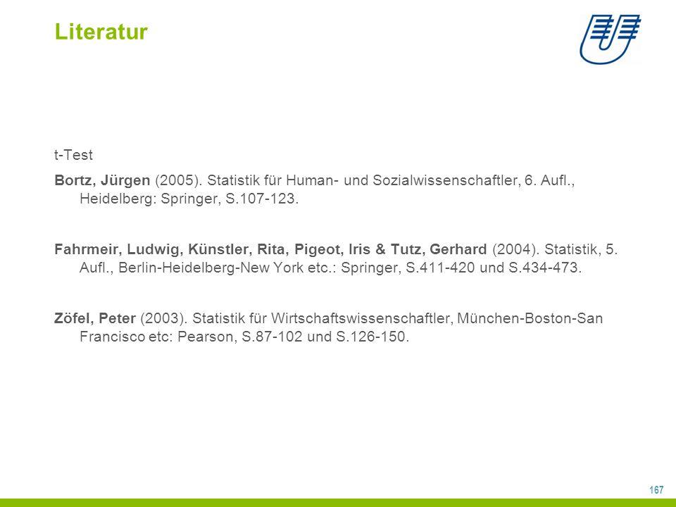 167 Literatur t-Test Bortz, Jürgen (2005).Statistik für Human- und Sozialwissenschaftler, 6.