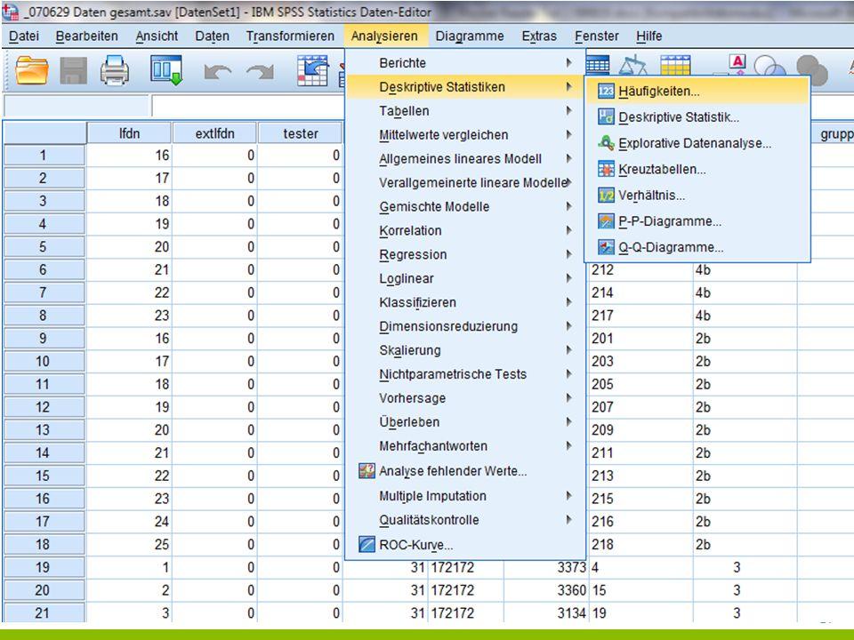21 ANALYSEPHASE DATEN BESCHREIBEN Häufigkeitstabellen +Eine Häufigkeitstabelle zeigt, wie häufig eine Merkmalsausprägung – also ein bestimmter tatsächlich beobachteter Wert – in einer Menge von erhobenen Daten vorkommt.