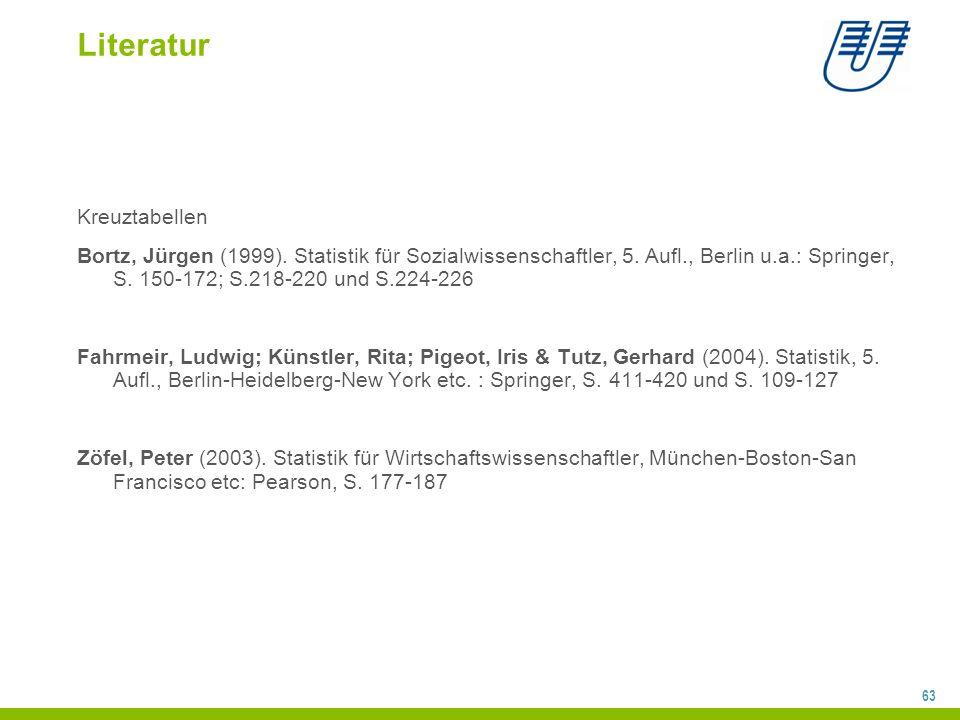 63 Literatur Kreuztabellen Bortz, Jürgen (1999).Statistik für Sozialwissenschaftler, 5.
