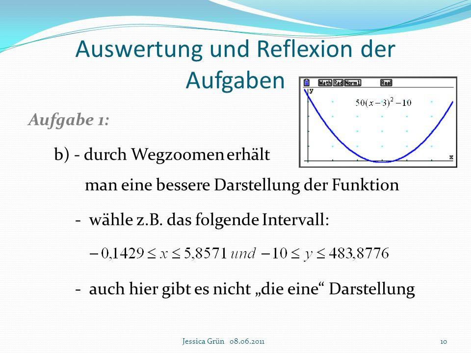 Auswertung und Reflexion der Aufgaben Aufgabe 1: b) - durch Wegzoomen erhält man eine bessere Darstellung der Funktion - wähle z.B. das folgende Inter
