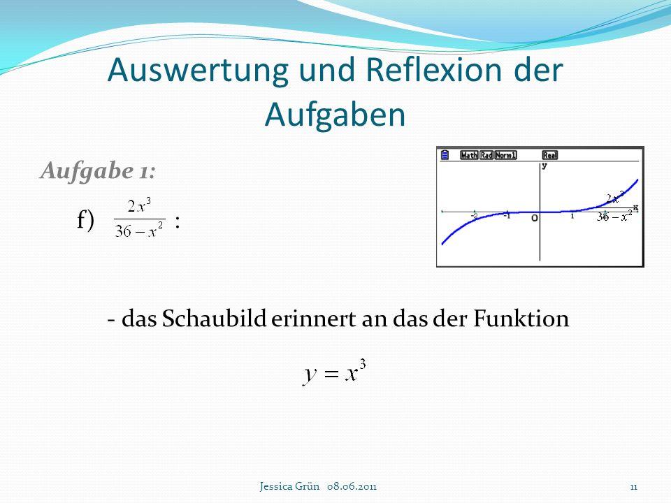 Auswertung und Reflexion der Aufgaben Aufgabe 1: f) : - das Schaubild erinnert an das der Funktion Jessica Grün 08.06.201111