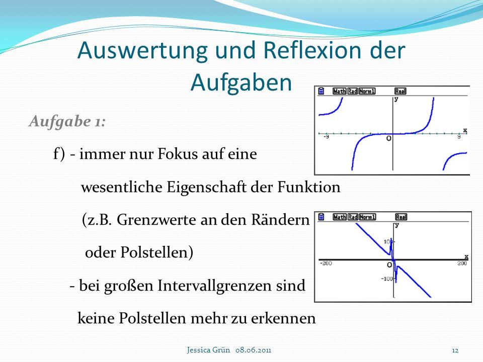 Auswertung und Reflexion der Aufgaben Aufgabe 1: f) - immer nur Fokus auf eine wesentliche Eigenschaft der Funktion (z.B. Grenzwerte an den Rändern od