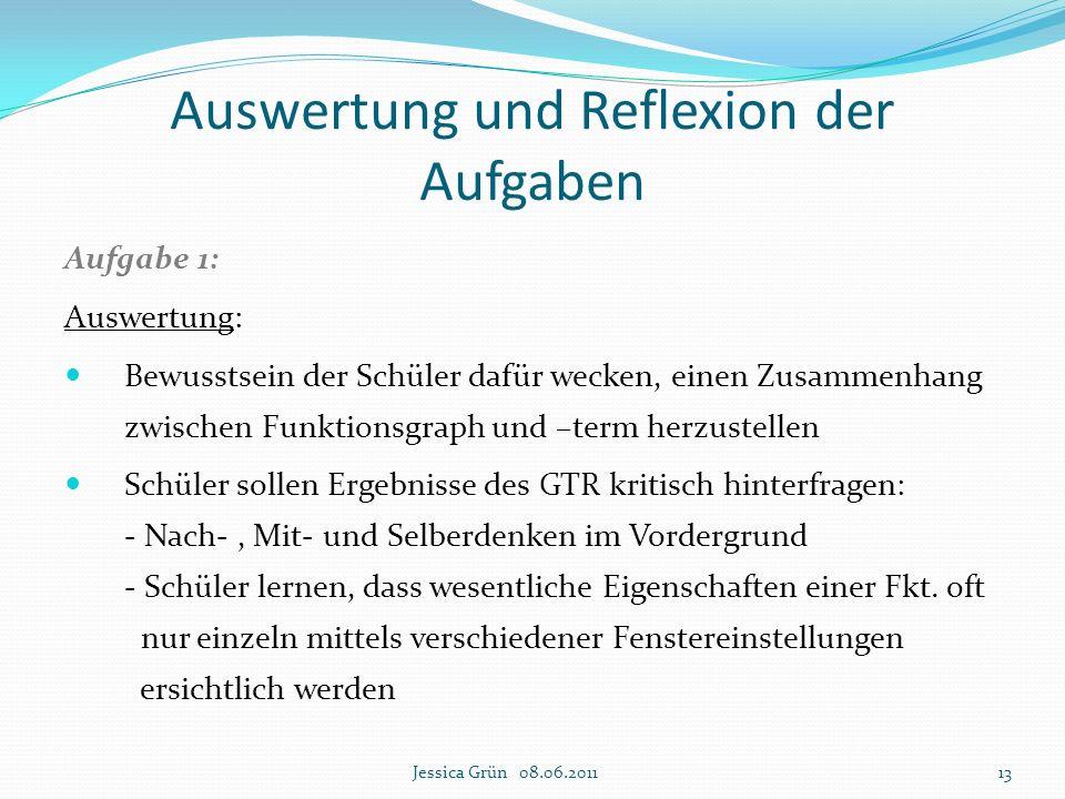 Auswertung und Reflexion der Aufgaben Aufgabe 1: Auswertung: Bewusstsein der Schüler dafür wecken, einen Zusammenhang zwischen Funktionsgraph und –ter