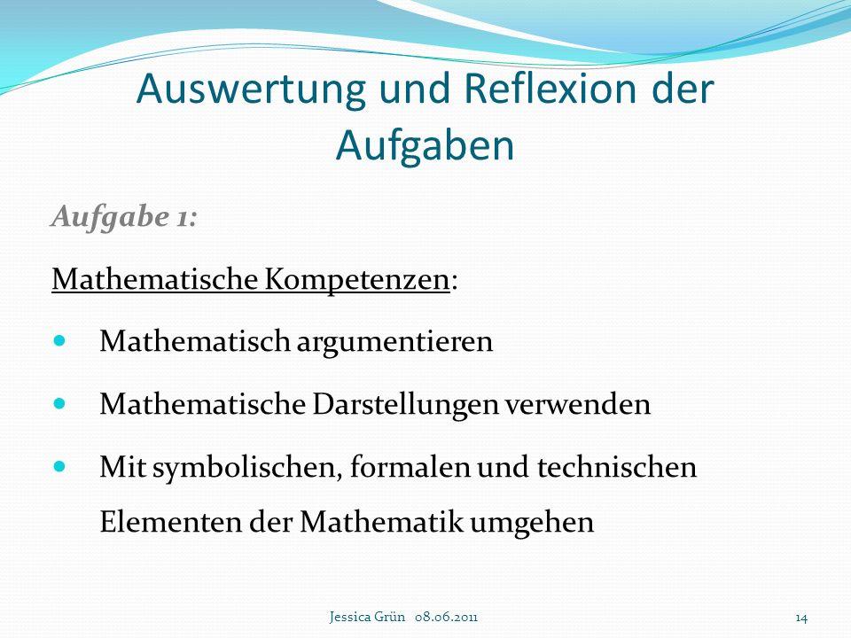 Auswertung und Reflexion der Aufgaben Aufgabe 1: Mathematische Kompetenzen: Mathematisch argumentieren Mathematische Darstellungen verwenden Mit symbo