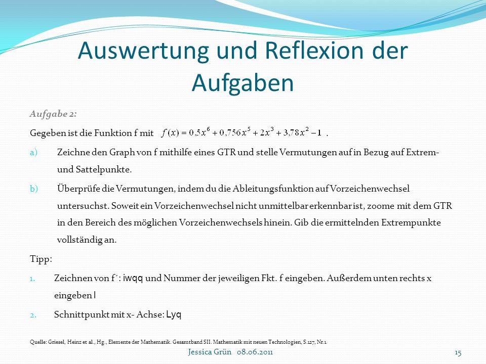 Auswertung und Reflexion der Aufgaben Aufgabe 2: Gegeben ist die Funktion f mit. a) Zeichne den Graph von f mithilfe eines GTR und stelle Vermutungen