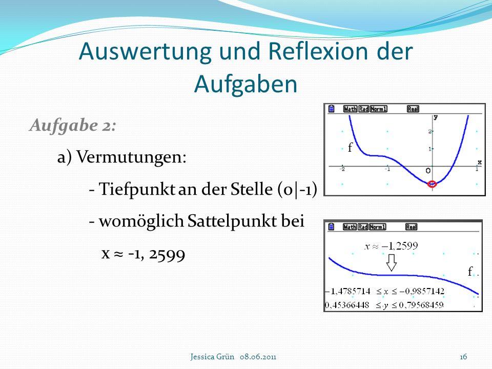 Auswertung und Reflexion der Aufgaben Aufgabe 2: a) Vermutungen: - Tiefpunkt an der Stelle (0|-1) - womöglich Sattelpunkt bei x ≈ -1, 2599 Jessica Grü