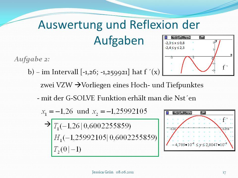 Auswertung und Reflexion der Aufgaben Aufgabe 2: b) – im Intervall [-1,26; -1,259921] hat f ´(x) zwei VZW  Vorliegen eines Hoch- und Tiefpunktes - mi
