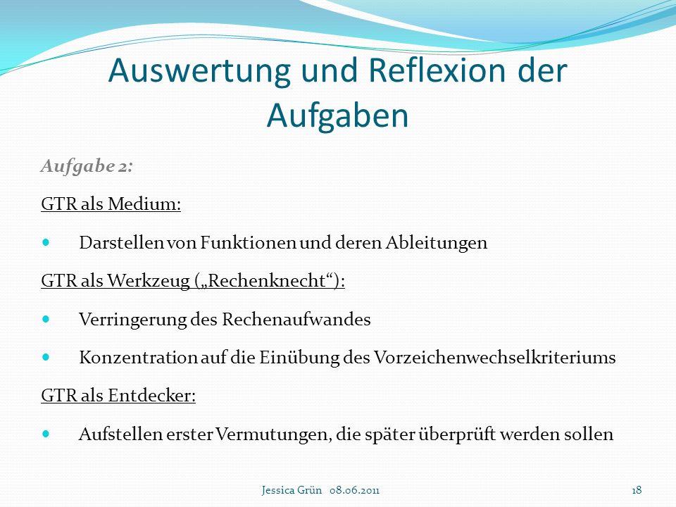 """Auswertung und Reflexion der Aufgaben Aufgabe 2: GTR als Medium: Darstellen von Funktionen und deren Ableitungen GTR als Werkzeug (""""Rechenknecht""""): Ve"""