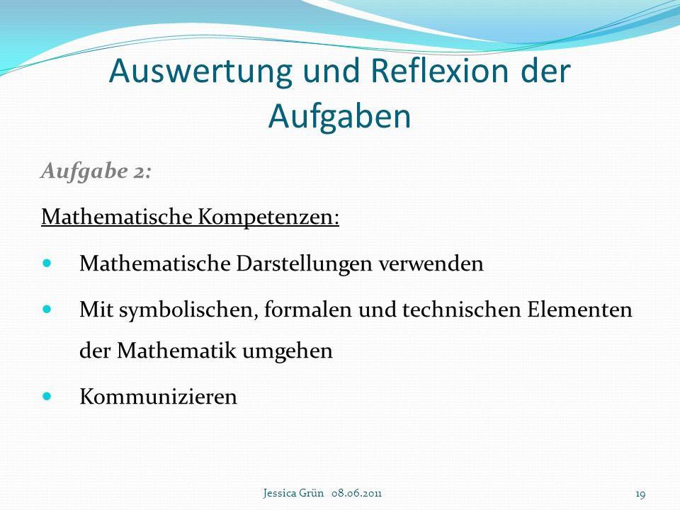 Auswertung und Reflexion der Aufgaben Aufgabe 2: Mathematische Kompetenzen: Mathematische Darstellungen verwenden Mit symbolischen, formalen und techn