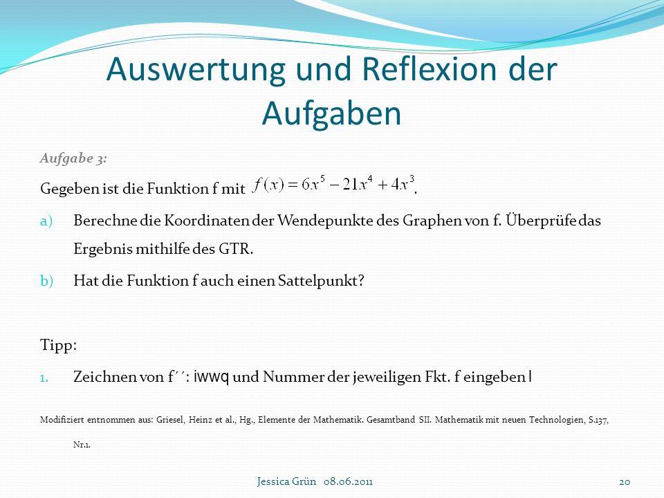 Aufgabe 3: Gegeben ist die Funktion f mit. a) Berechne die Koordinaten der Wendepunkte des Graphen von f. Überprüfe das Ergebnis mithilfe des GTR. b)