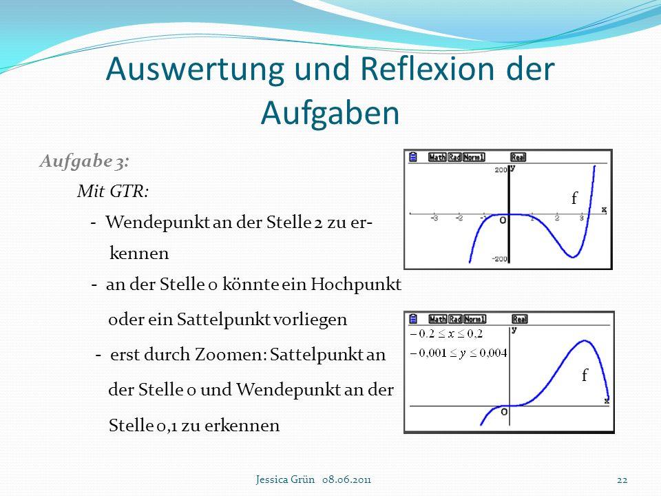 Aufgabe 3: Mit GTR: - Wendepunkt an der Stelle 2 zu er- kennen - an der Stelle 0 könnte ein Hochpunkt oder ein Sattelpunkt vorliegen - erst durch Zoom