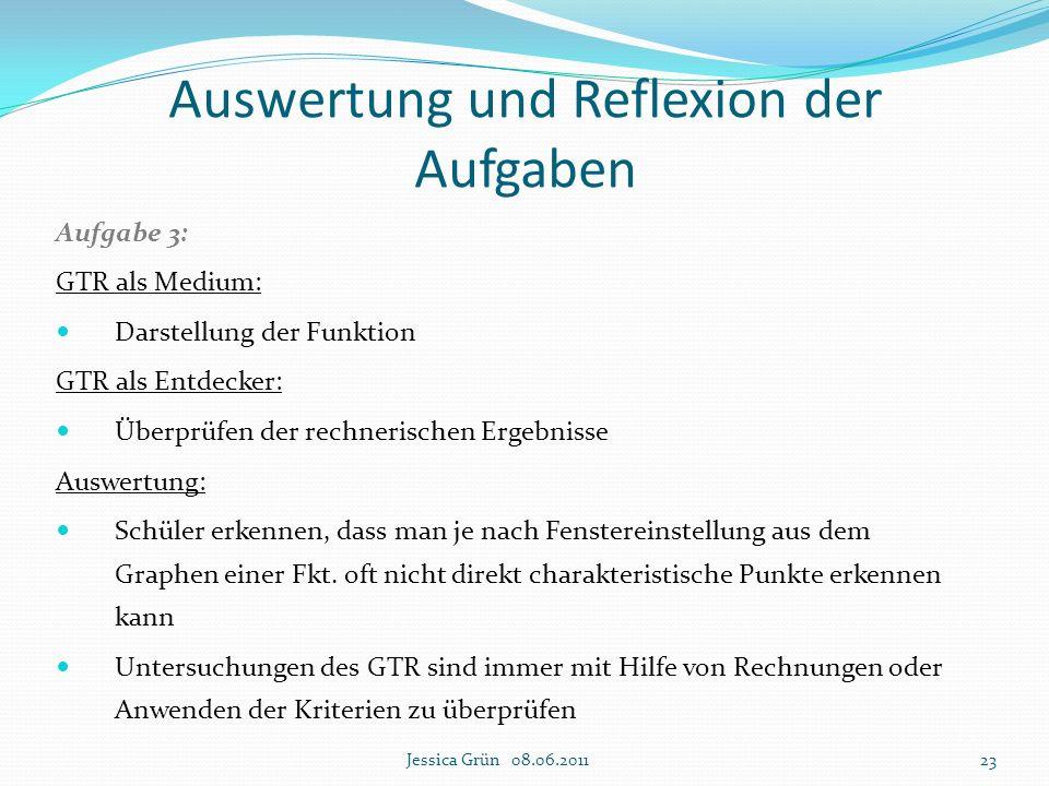 Aufgabe 3: GTR als Medium: Darstellung der Funktion GTR als Entdecker: Überprüfen der rechnerischen Ergebnisse Auswertung: Schüler erkennen, dass man