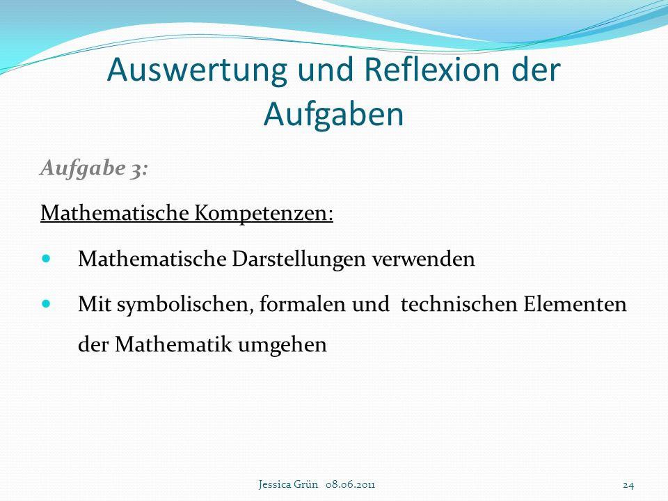 Aufgabe 3: Mathematische Kompetenzen: Mathematische Darstellungen verwenden Mit symbolischen, formalen und technischen Elementen der Mathematik umgehe