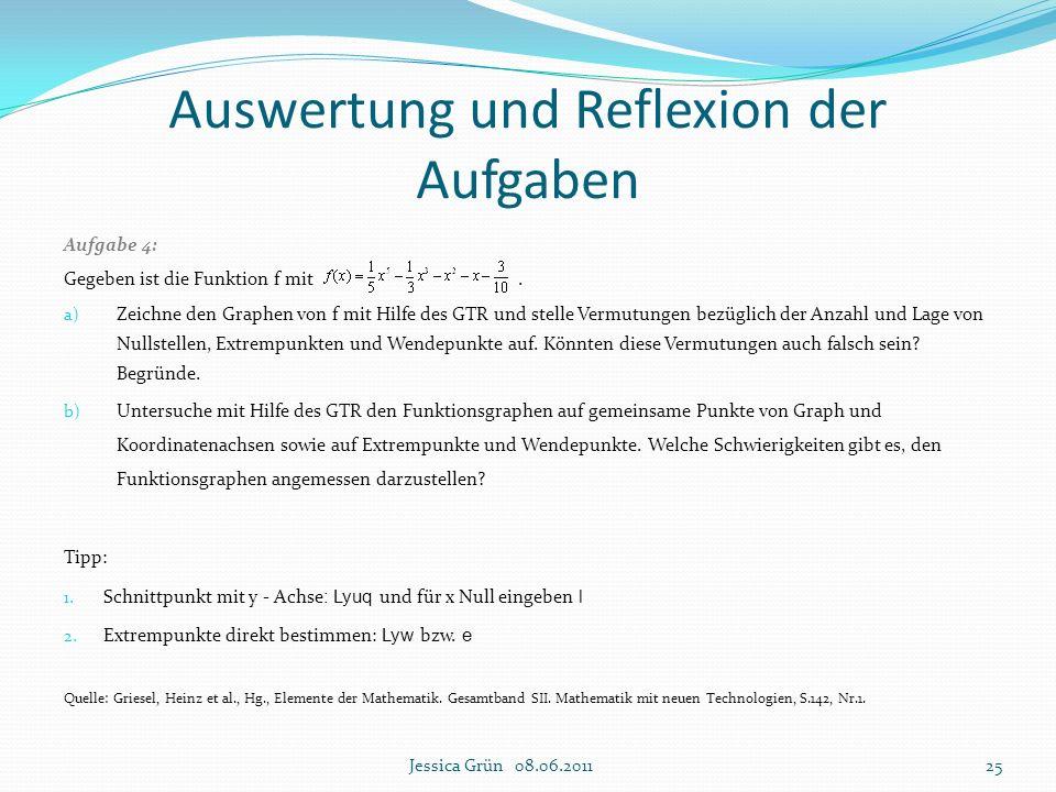 Aufgabe 4: Gegeben ist die Funktion f mit. a) Zeichne den Graphen von f mit Hilfe des GTR und stelle Vermutungen bezüglich der Anzahl und Lage von Nul