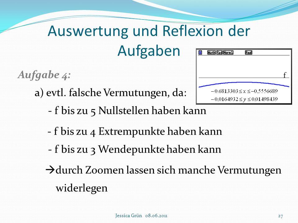 Auswertung und Reflexion der Aufgaben Aufgabe 4: a) evtl. falsche Vermutungen, da: - f bis zu 5 Nullstellen haben kann - f bis zu 4 Extrempunkte haben