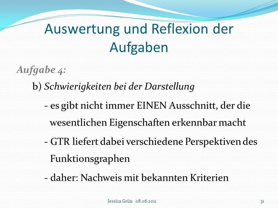 Auswertung und Reflexion der Aufgaben Aufgabe 4: b) Schwierigkeiten bei der Darstellung - es gibt nicht immer EINEN Ausschnitt, der die wesentlichen E