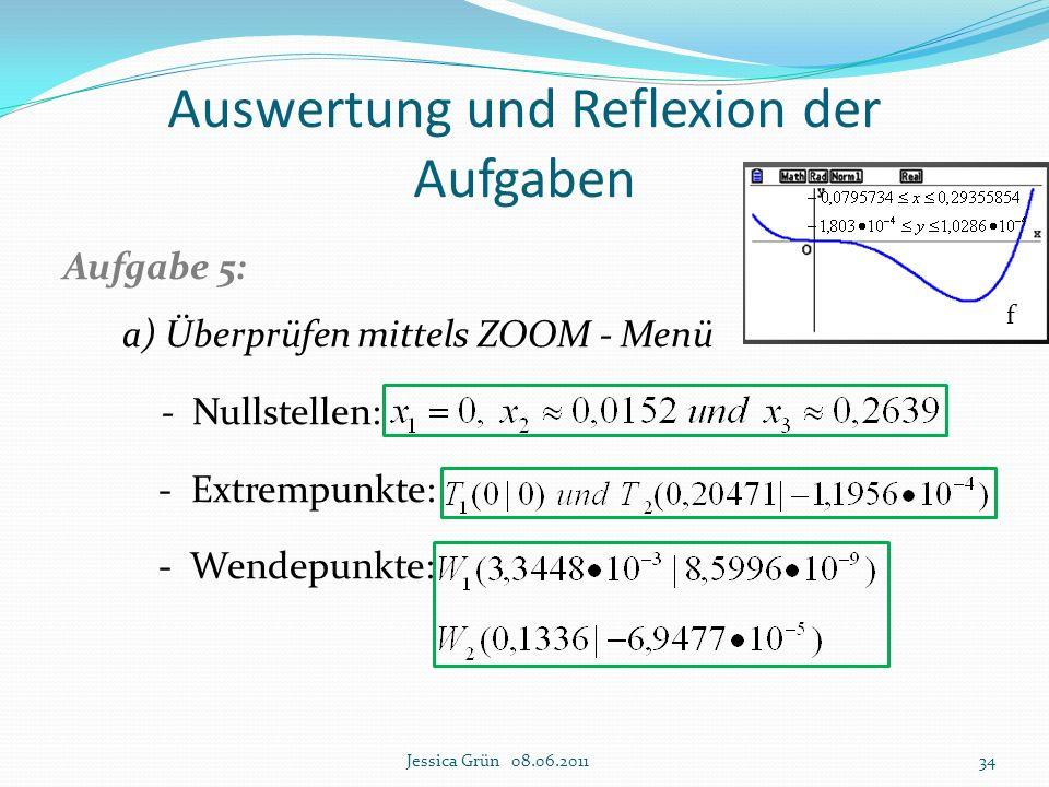 Auswertung und Reflexion der Aufgaben Aufgabe 5: a) Überprüfen mittels ZOOM - Menü - Nullstellen: - Extrempunkte: - Wendepunkte: Jessica Grün 08.06.20