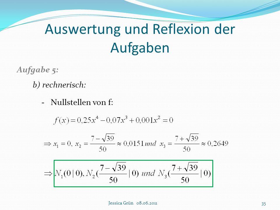Auswertung und Reflexion der Aufgaben Aufgabe 5: b) rechnerisch: - Nullstellen von f: Jessica Grün 08.06.201135