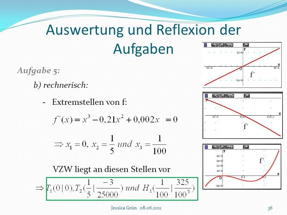 Auswertung und Reflexion der Aufgaben Aufgabe 5: b) rechnerisch: - Extremstellen von f: VZW liegt an diesen Stellen vor Jessica Grün 08.06.201136 f´