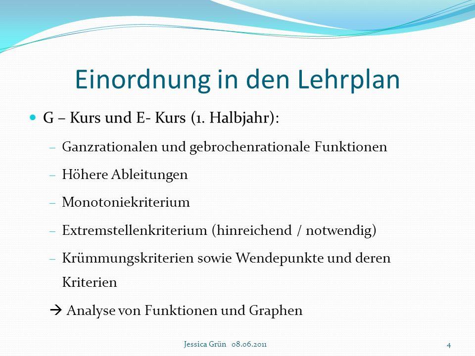 Einordnung in den Lehrplan G – Kurs und E- Kurs (1. Halbjahr):  Ganzrationalen und gebrochenrationale Funktionen  Höhere Ableitungen  Monotoniekrit