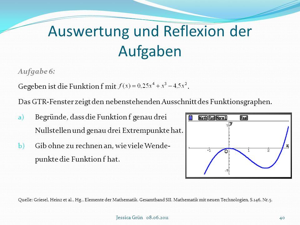 Auswertung und Reflexion der Aufgaben Aufgabe 6: Gegeben ist die Funktion f mit. Das GTR-Fenster zeigt den nebenstehenden Ausschnitt des Funktionsgrap