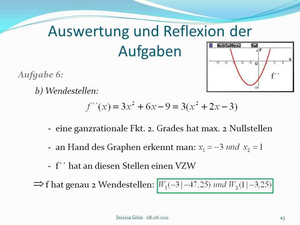 Auswertung und Reflexion der Aufgaben Aufgabe 6: b) Wendestellen: - eine ganzrationale Fkt. 2. Grades hat max. 2 Nullstellen - an Hand des Graphen erk