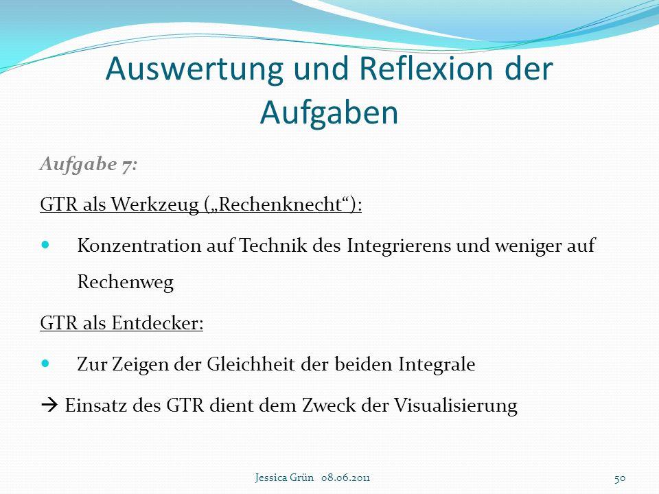 """Auswertung und Reflexion der Aufgaben Aufgabe 7: GTR als Werkzeug (""""Rechenknecht""""): Konzentration auf Technik des Integrierens und weniger auf Rechenw"""